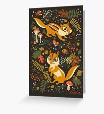 Two Cute Chipmunks in Autumn Background Greeting Card