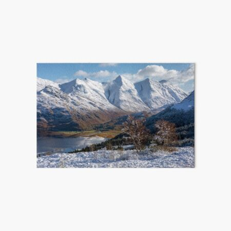 Five Sisters of Kintail Snow Scene Mam Ratagan Scotland Art Board Print