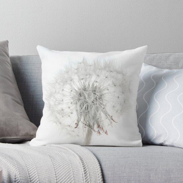 Dandelion on a white background Throw Pillow