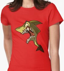 Angry green shark with shading Womens Fitted T-Shirt