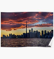 Fire sunset over Toronto Poster