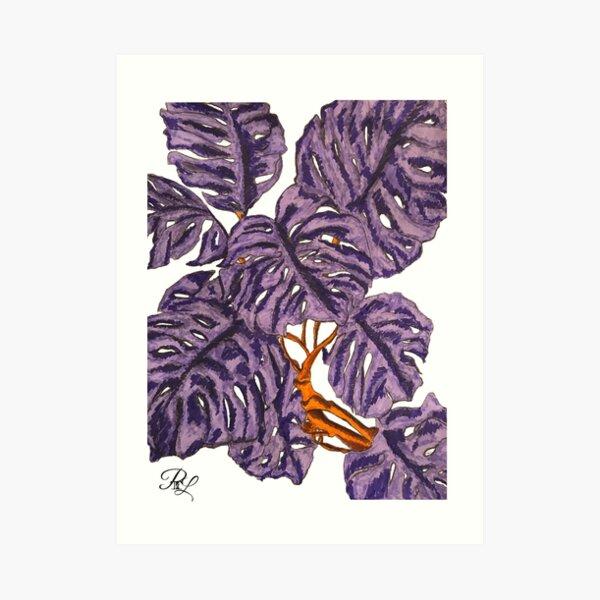 Monstera Purple Plant Art Print