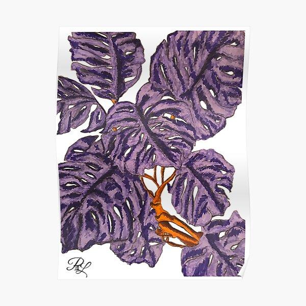 Monstera Purple Plant Poster