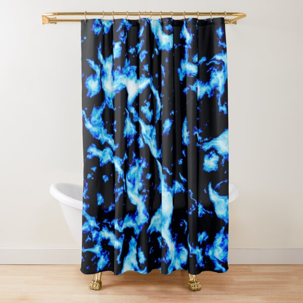 Abstract Grunge Marble - Black and Blue Shower Curtain