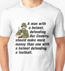 A man, with a helmet, defending our country... Unisex T-Shirt