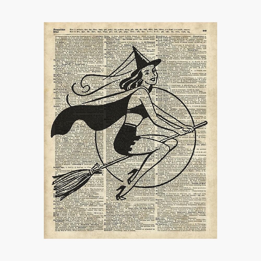 Witch Flying on Broom,Haloowen Party Costume Vintage Style Dictionary Art Lámina fotográfica