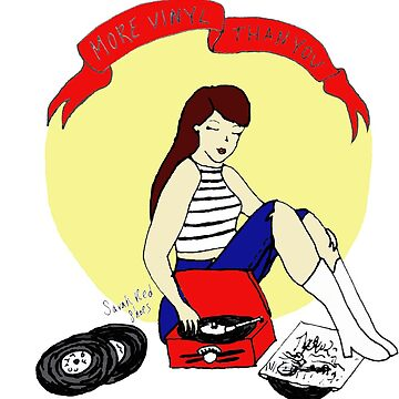 Record Player Pinup - Vinyl Girl by SarahRedShoes