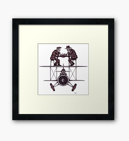 Chess game on the vintage airplane surreal black and white drawing Framed Print
