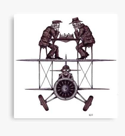 Chess game on the vintage airplane surreal black and white drawing Canvas Print