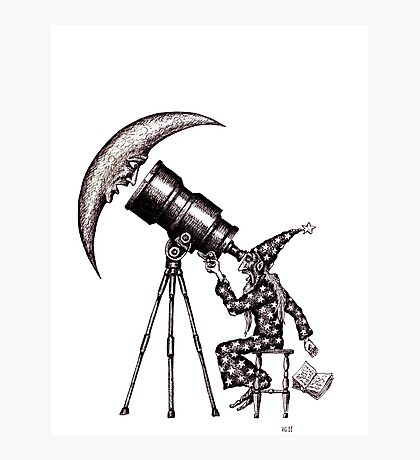 Astronomer surreal black and white pen ink drawing Photographic Print