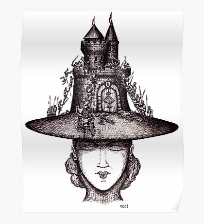 Castle on the girl's hat surreal black and white pen ink drawing Poster