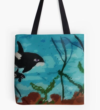 Mother and  baby swimming by, Series #3,  watercolor Tote Bag