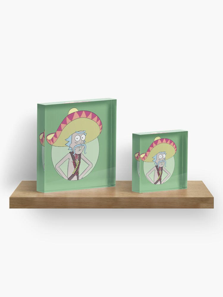 Alternate view of Mexican Rick Sanchez - Rick and Morty Acrylic Block