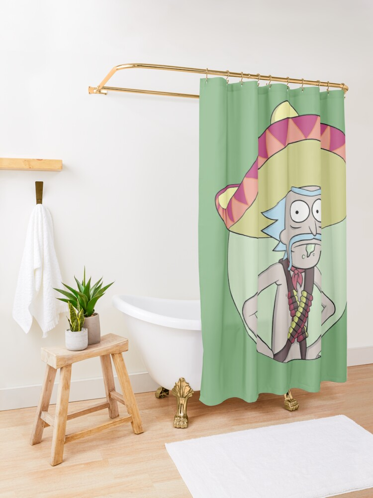 Alternate view of Mexican Rick Sanchez - Rick and Morty Shower Curtain