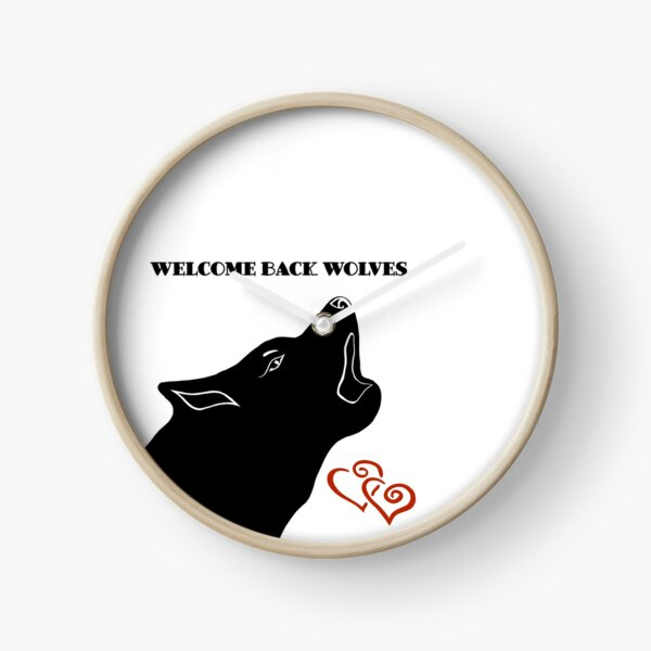 Silhouette heulender Wolf welcome back wolves Uhr