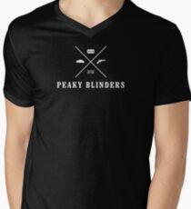 Peaky Blinders - Cross Logo - White Clean Men's V-Neck T-Shirt