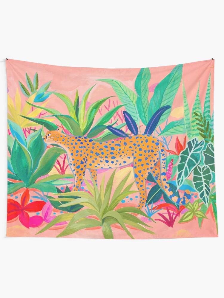 Alternate view of Leopard in Succulent Garden Tapestry