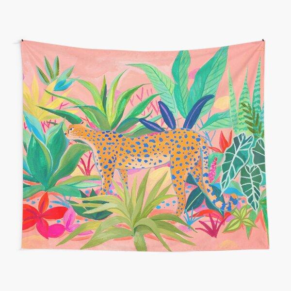 Leopard in Succulent Garden Tapestry