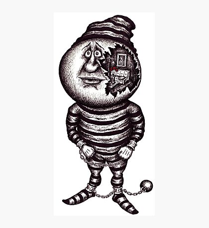 Prisoner of the material. Surreal black and white pen ink drawing Photographic Print