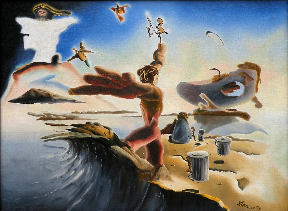 "A Last Minute Surrealistic Apocalyptic Education - oil on canvas - 24"" x 18"" by Dave Martsolf"