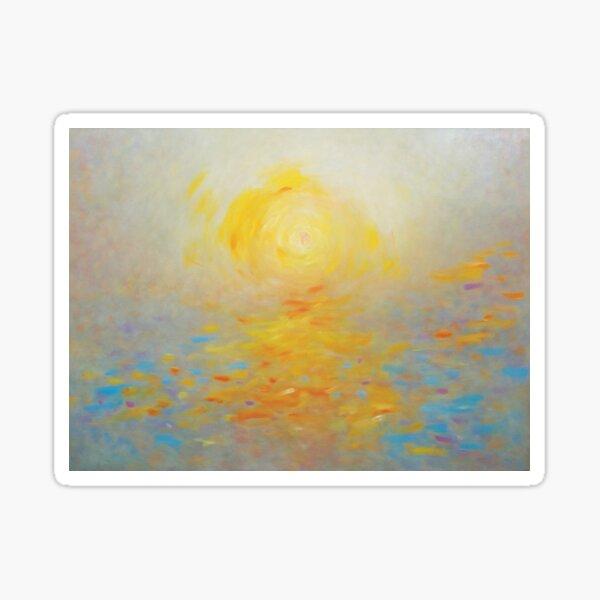 Impressionist Sunrise over Colourful Sea Sticker