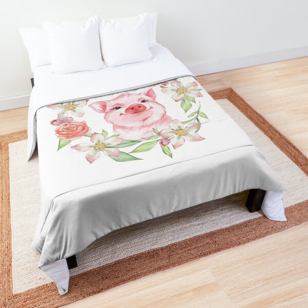 Pig and flowers Comforter