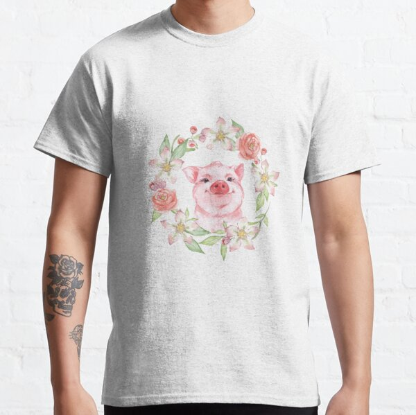 Pig and flowers Classic T-Shirt
