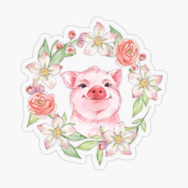 Pig and flowers Transparent Sticker