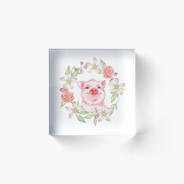 Pig and flowers Acrylic Block