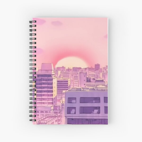 90s Anime Sailor Moon City Pink Sunset Aesthetic Spiral Notebook