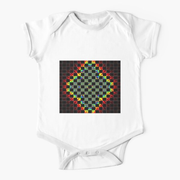 #Design, #pattern, #abstract, #art, illustration, shape, decoration, mosaic, square, futuristic, tile, modern Short Sleeve Baby One-Piece