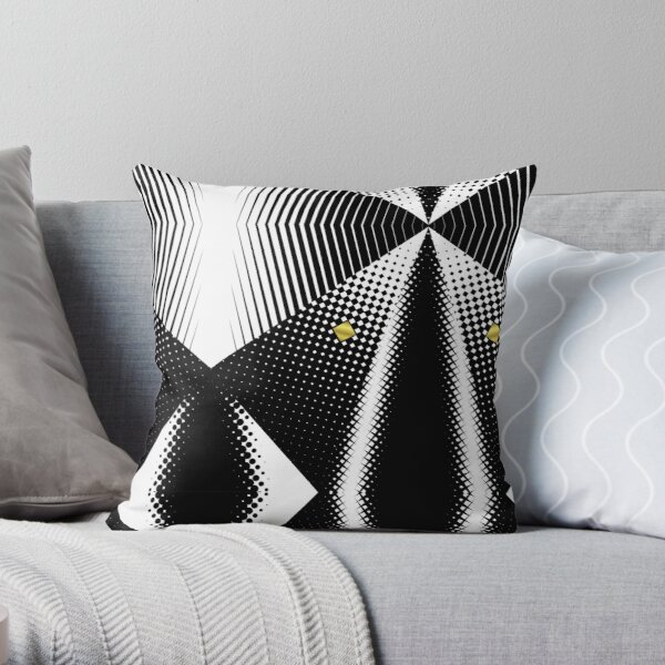 Modern Abstract Geometry | Black White Halftone Gold Square Pattern Throw Pillow
