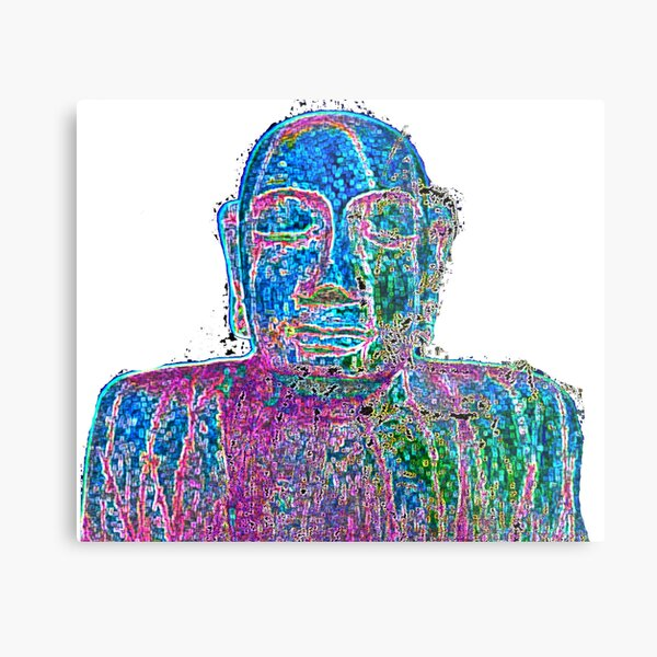 Neon Budha  Metal Print
