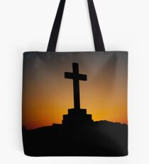 Daybreak behind cross Tote Bag