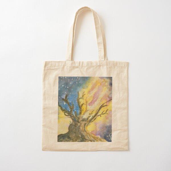 Bristlecone Pine Tree Yellow Galaxy Milky Way Art, Watercolour, Painting, Gift Cotton Tote Bag