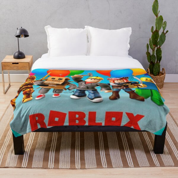 Roblox and family in a round area Throw Blanket