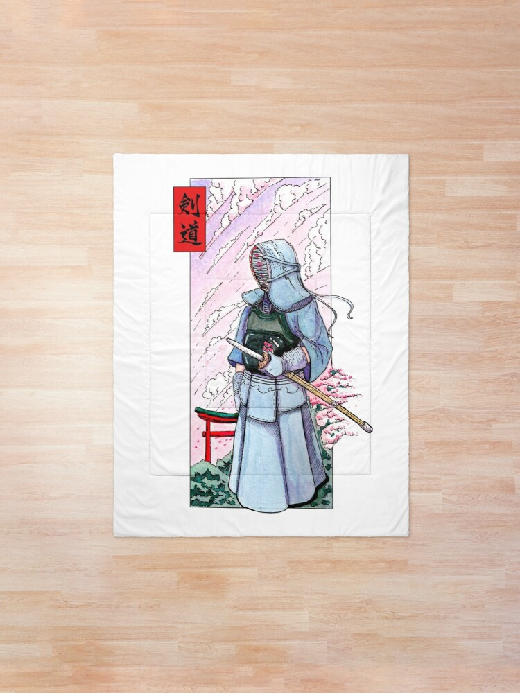 Alternate view of Kendoka watercolor in Japan Comforter