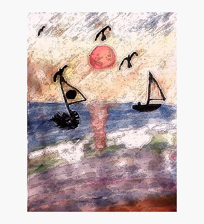 #2  Abstract Ocean, series, watercolor  and pencil Photographic Print