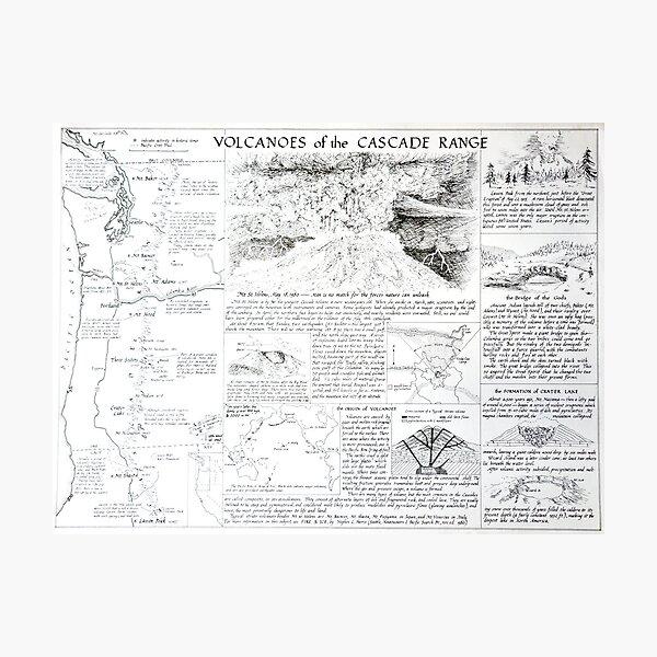 Volcanoes of the Cascade Range Photographic Print