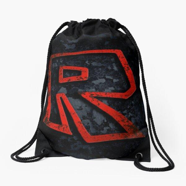 Roblox Logo on black Drawstring Bag