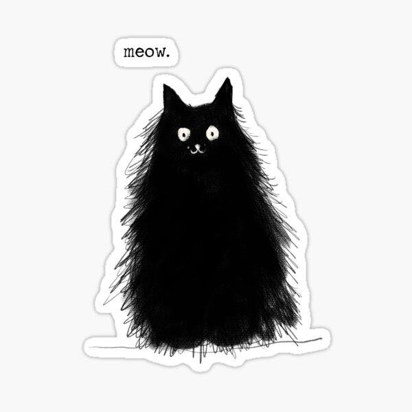 Meow, fuzzy cat, digital art Sticker