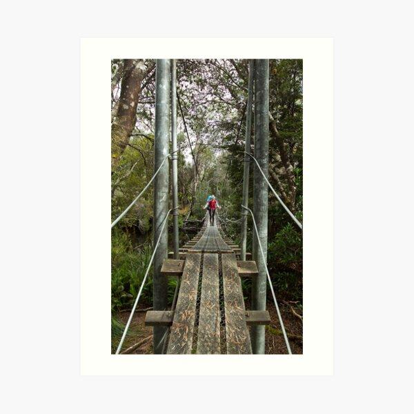 Returing across the rope bridge from Frenchmans Cap, Tasmania Art Print