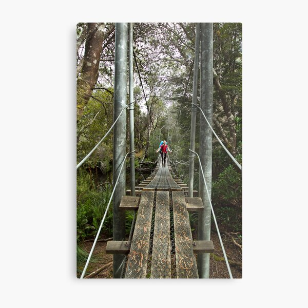 Returing across the rope bridge from Frenchmans Cap, Tasmania Metal Print