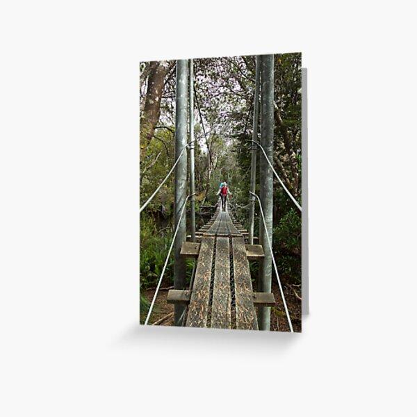 Returing across the rope bridge from Frenchmans Cap, Tasmania Greeting Card