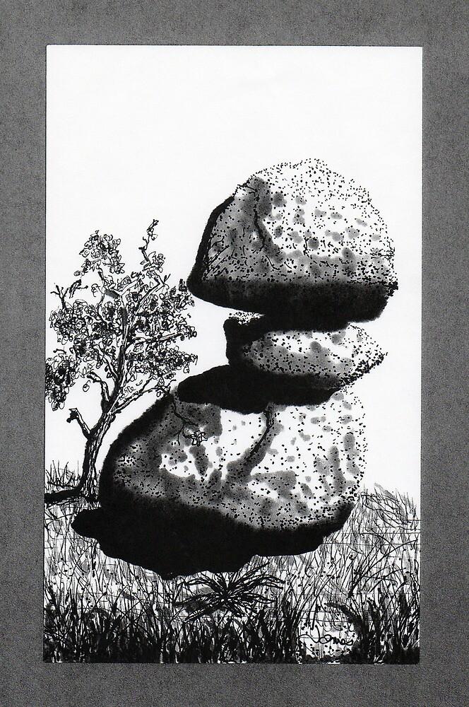 Boulders with Live Oak Tree by James Lewis Hamilton