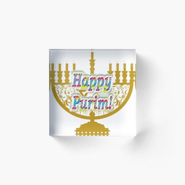 Purim, Jews, King Ahasuerus, Queen Vashti, Jewish girl, Esther, antisemitic Haman, Mordechai, feast Acrylic Block