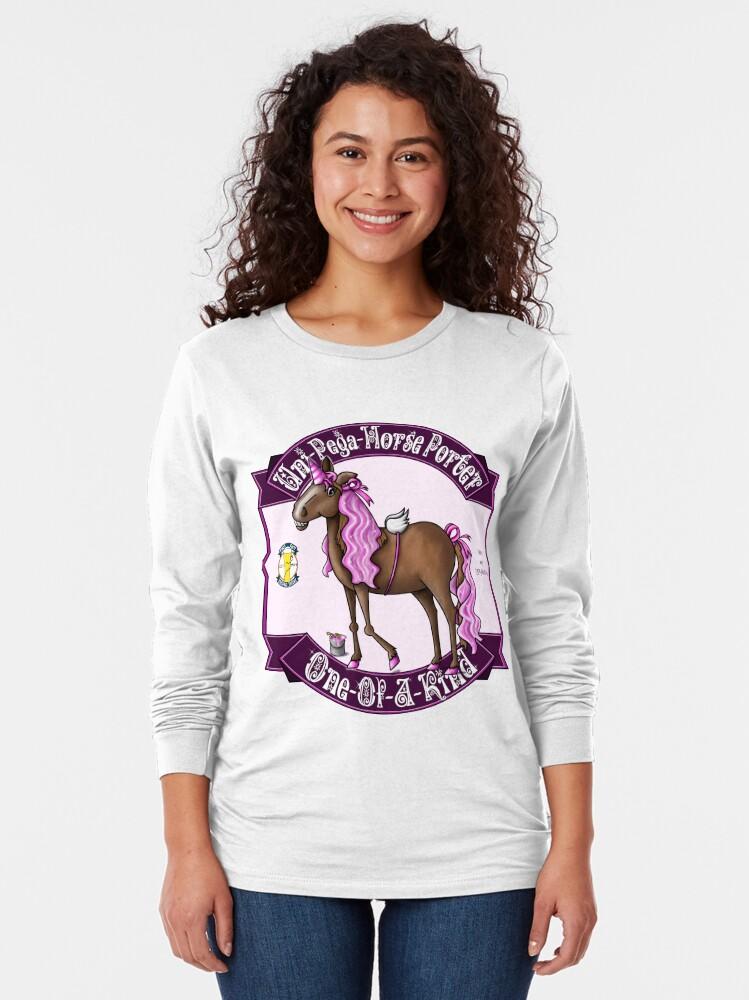 Alternate view of Uni-Pega-Horse Porter Long Sleeve T-Shirt