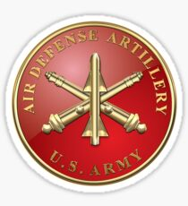 Air Defense Artillery - ADA Branch Insignia over Blue Velvet Sticker