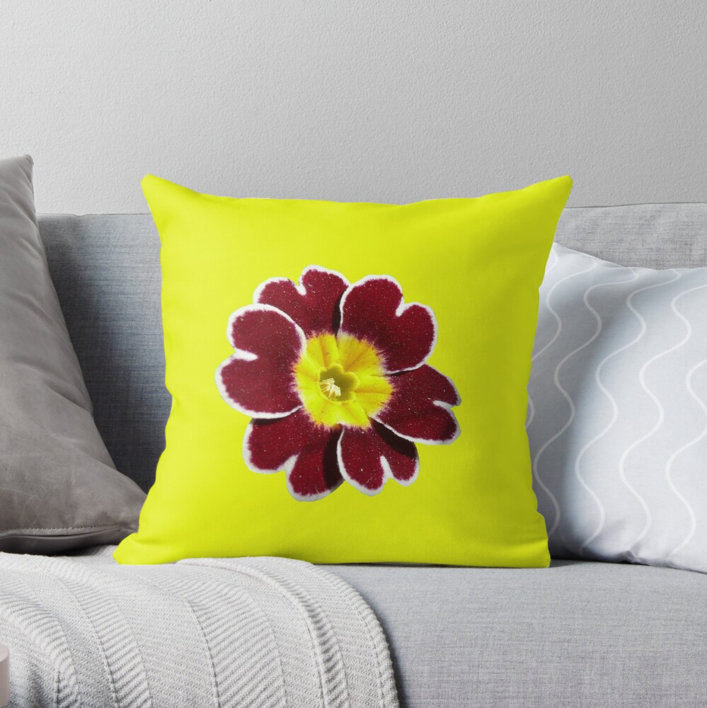 Gold Lace Primula - Flower Power Collection Throw Pillow