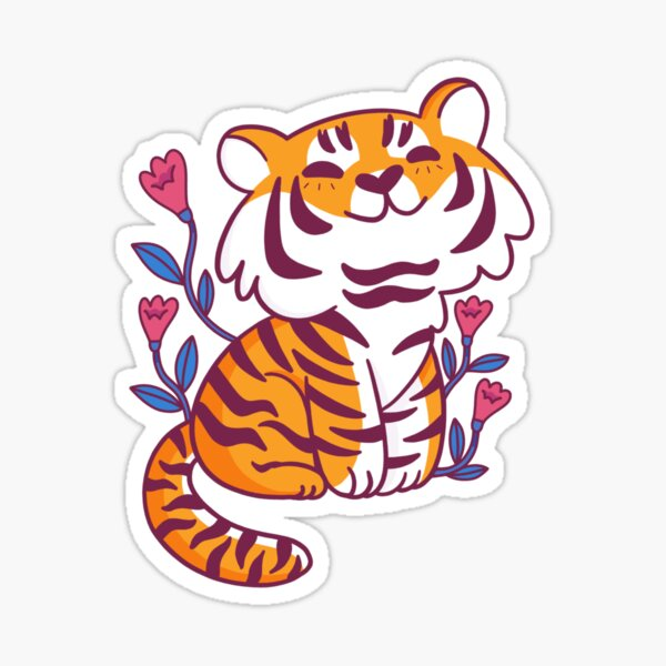 Flower Tiger Sticker